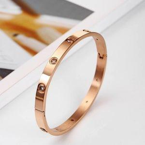Rose Gold Round Diamond Bangle Bracelet